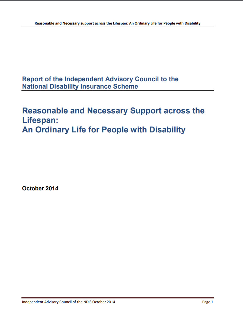 Cover art for: Reasonable and Necessary Support across the Lifespan: An Ordinary Life for People with Disability