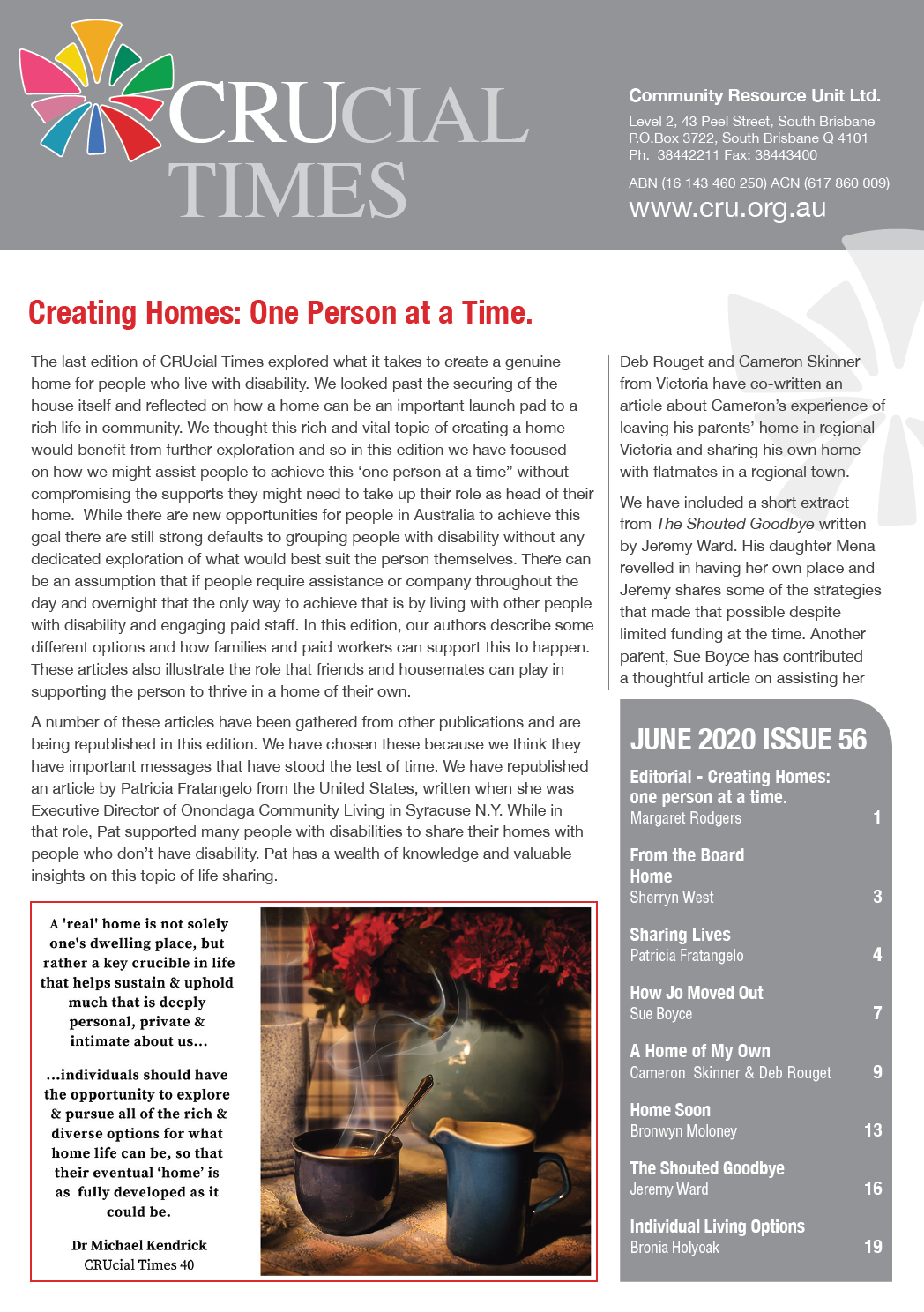 Cover art for: CRUcial Times – Creating Homes: One Person at a Time