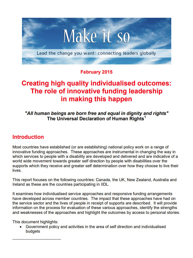 Cover art for: Creating High Quality Individualised Outcomes