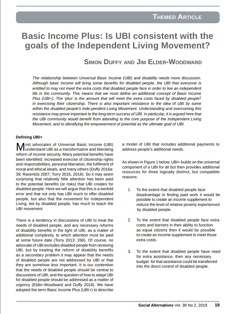 Cover art for: Basic Income Plus: Is UBI consistent with the goals of the Independent Living Movement?