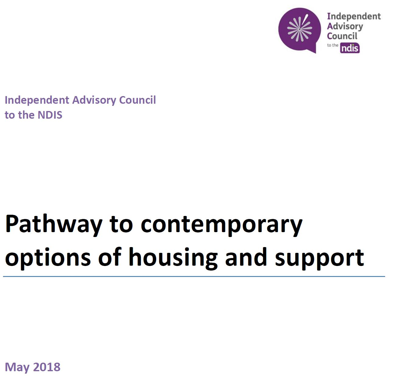 Cover art for: IAC Report Pathway to Innovative and Contemporary Options of Housing and Support