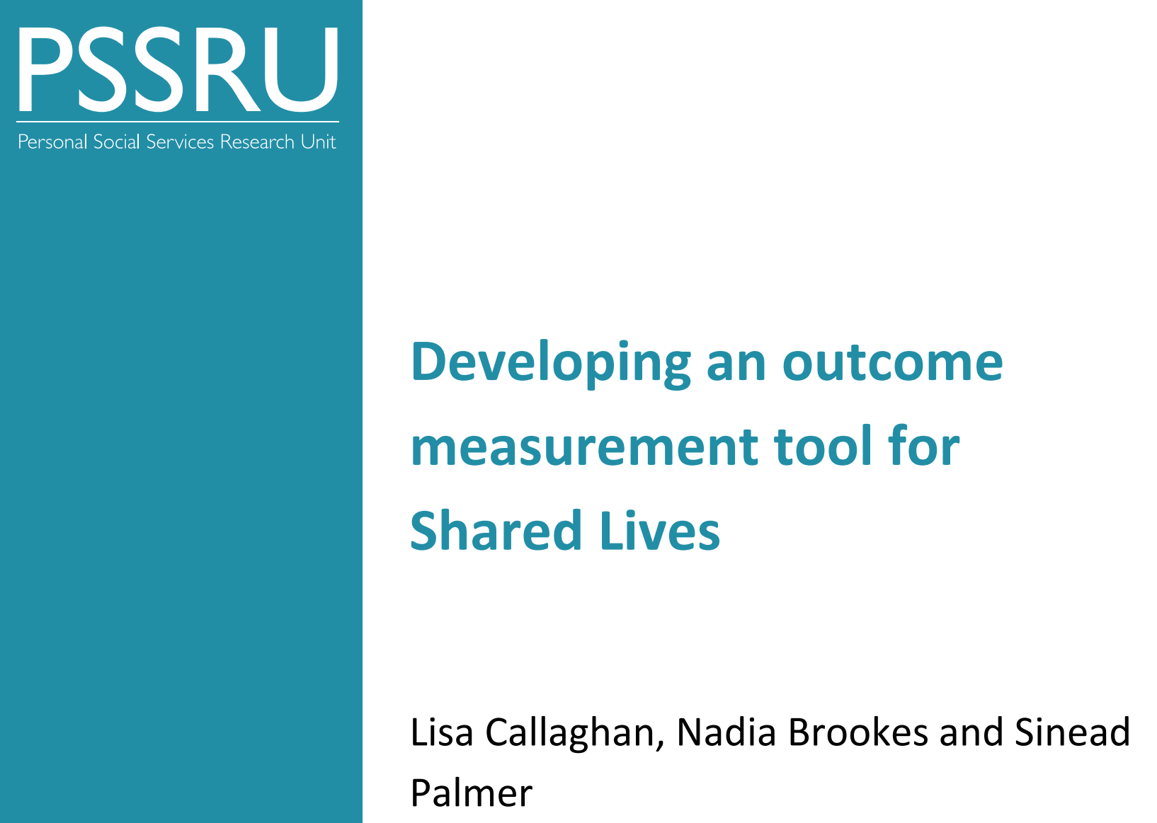 Cover art for: Developing an Outcome Measurement Tool for Shared Lives