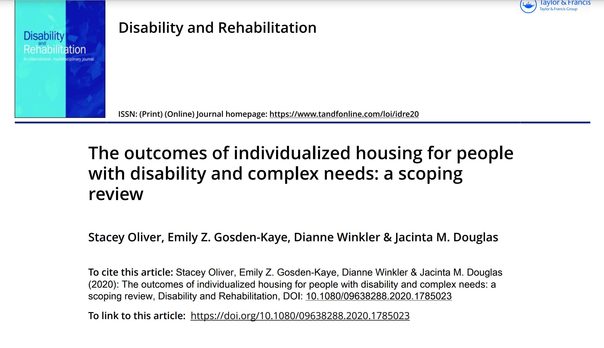 Cover art for: The outcomes of individualised housing for people with disability and complex needs: a scoping review