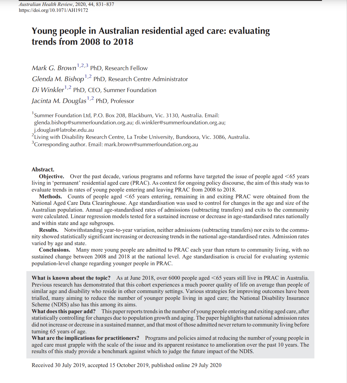 Cover art for: Young people in Australian residential aged care: evaluating trends from 2008 to 2018