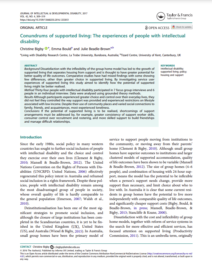 Cover art for: Conundrums of supported living: The experiences of people with intellectual disability