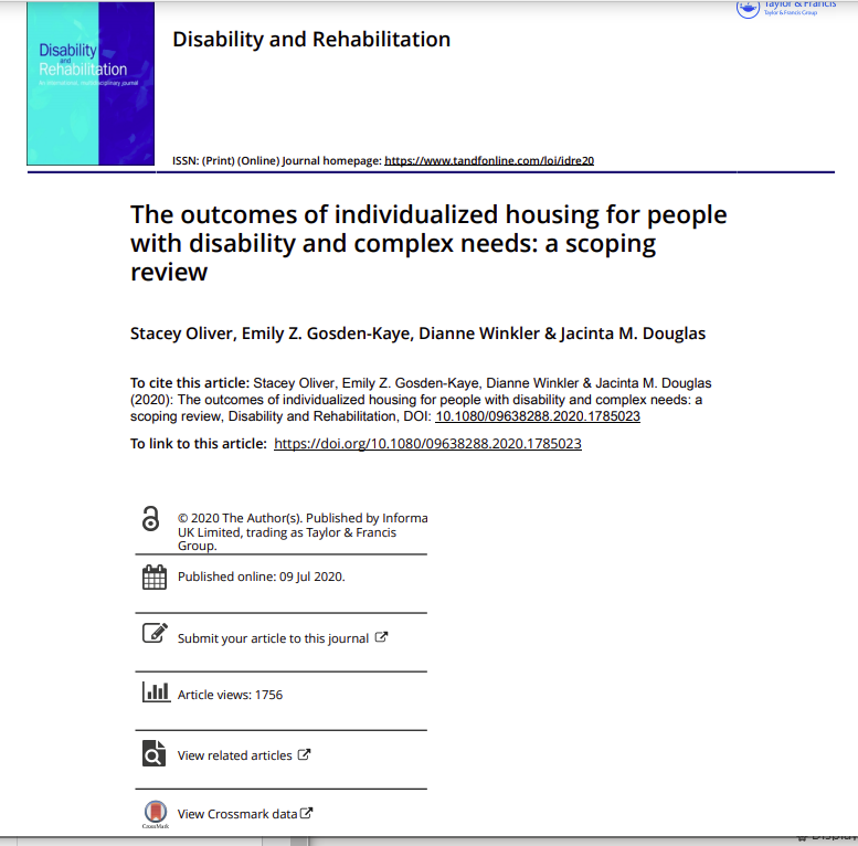 Cover art for: The Outcomes of individualised housing for people with disability and complex needs