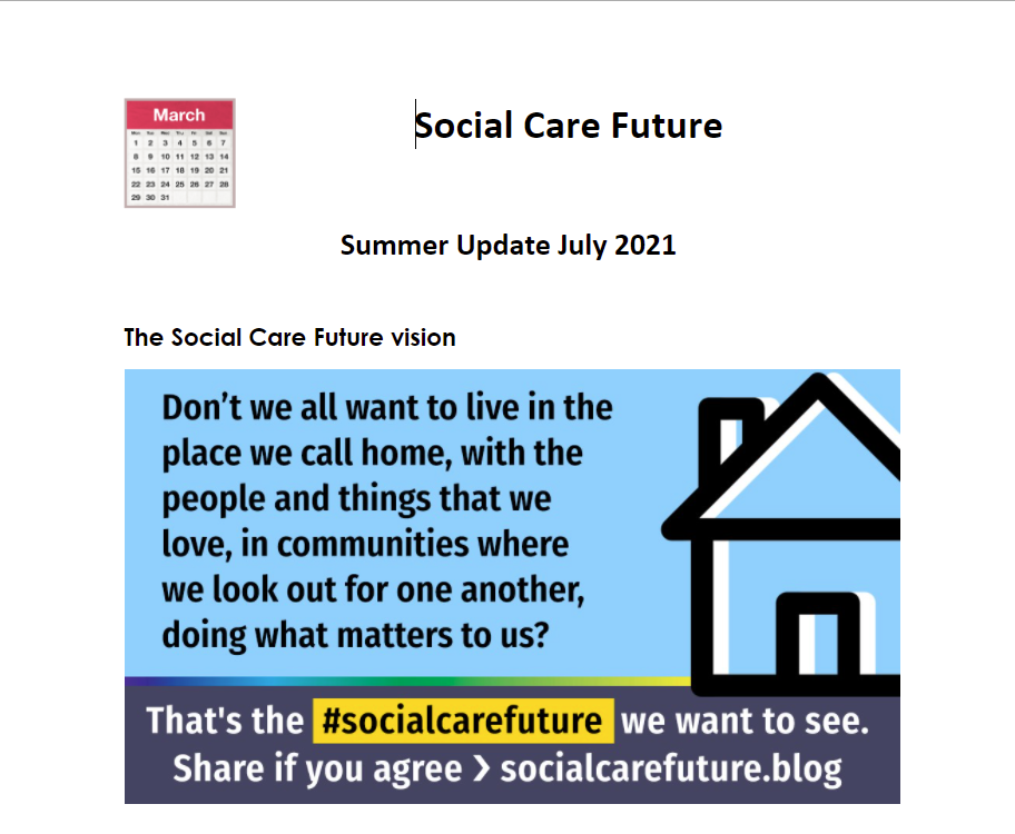 Cover art for: Social Care Future: Summer Update July 2021