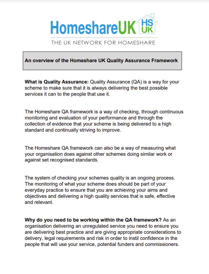 Cover art for: Quality Assurance Framework- Homeshare UK